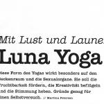 Mit Lust und Laune Luna Yoga, Artikel in der Comia Nov. 2016